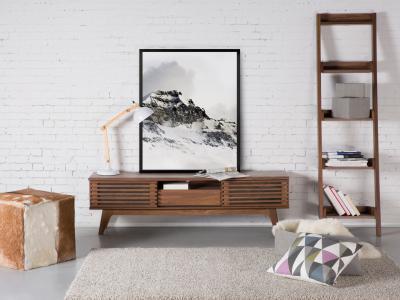 Médiaállvány barna színben - nappali ötlet, modern stílusban