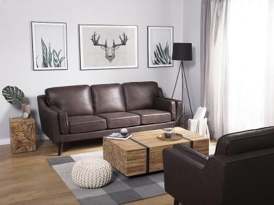 Barna háromszemélyes kanapé - nappali ötlet, modern stílusban
