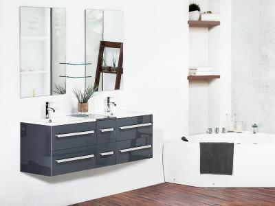 Fiókos fürdőszoba szekrény fényes felülettel - fürdő / WC ötlet, modern stílusban