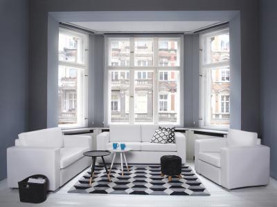 Szőnyeg monokróm színekben - nappali ötlet, modern stílusban
