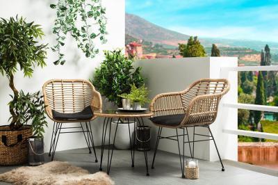 Rattan-fém kerti bútor - erkély / terasz ötlet, modern stílusban