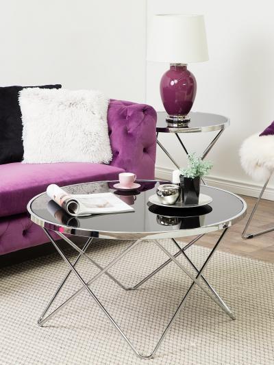 Üveglapos dohányzóasztal - nappali ötlet, modern stílusban