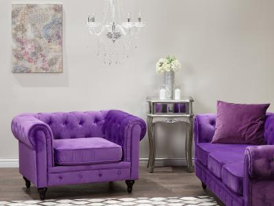 Lila fotel - nappali ötlet, klasszikus stílusban