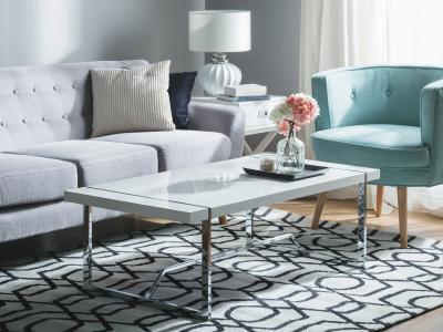 Fehér dohányzóasztal - nappali ötlet, modern stílusban
