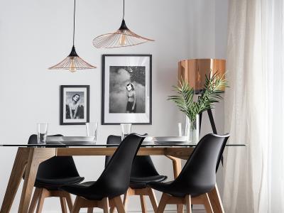 Látványos függő lámpák az étkezőben - konyha / étkező ötlet, modern stílusban