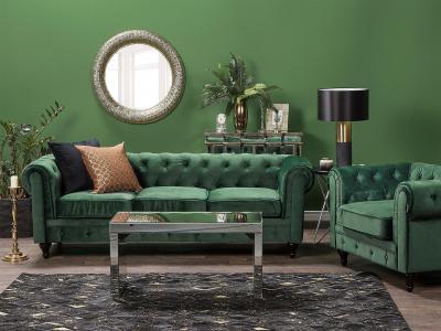 Zöld kanapé - nappali ötlet, klasszikus stílusban