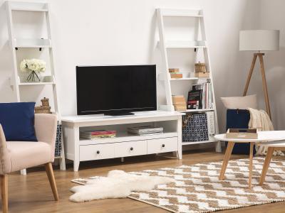 Fehér tévé állvány - nappali ötlet, modern stílusban