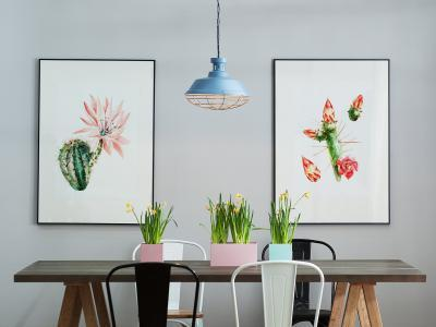 Kék függő lámpa - konyha / étkező ötlet, modern stílusban