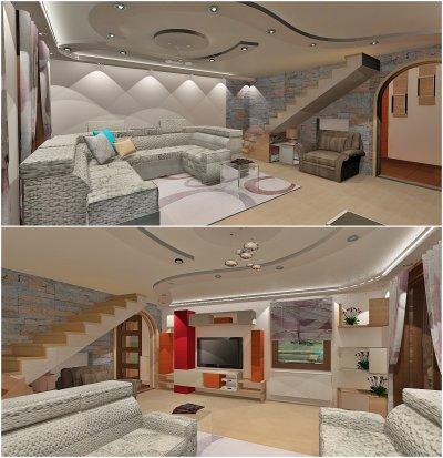 Középkorú házaspár nappalija - nappali ötlet, modern stílusban