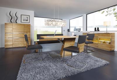 Étkezőasztal különleges lábazattal - nappali ötlet, modern stílusban