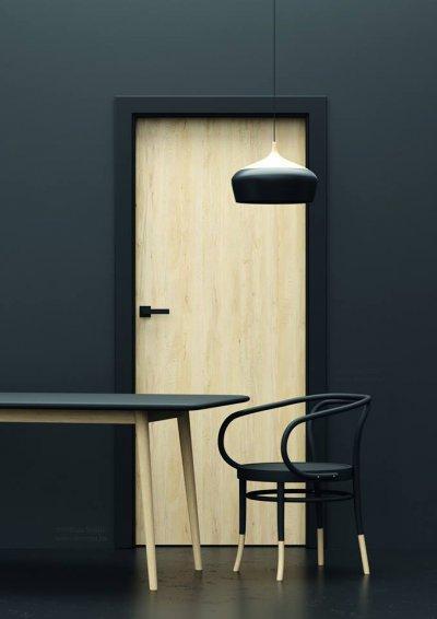 Kontrasztok - egyedi beltéri ajtó - konyha / étkező ötlet, modern stílusban