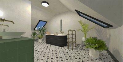 Fürdő a tetőtérben - fürdő / WC ötlet, klasszikus stílusban