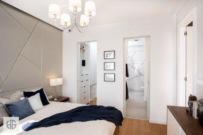 Belvárosi lakás lakosztálya - háló ötlet, modern stílusban