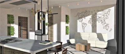 Loft-minimál legénylakás - nappali ötlet, modern stílusban
