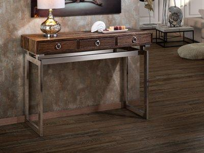 fa konzol asztal fém lábakkal - előszoba ötlet