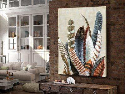 Lakás dekoráció konzol asztal faliképpel - nappali ötlet, modern stílusban