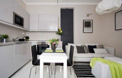 Nappali étkező konyha 20 m2-en - konyha / étkező ötlet, modern stílusban