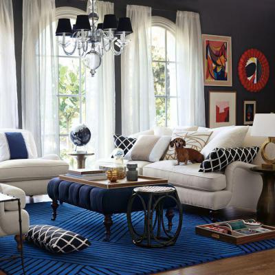 Kék és fehér - nappali ötlet, klasszikus stílusban