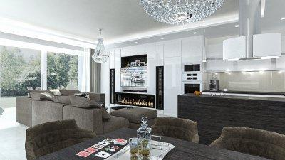 Csillogó felületek, nyitott térben - konyha / étkező ötlet, modern stílusban