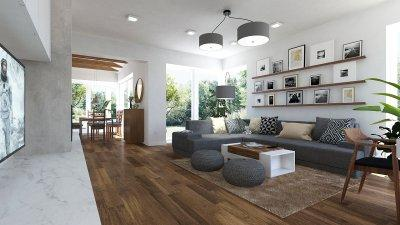 Északi stílusú családi ház - nappali ötlet, modern stílusban