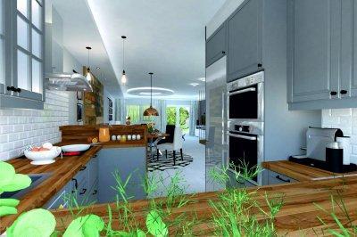 Modern otthon egy kis ipari stílussal, fával és fémmel - konyha / étkező ötlet, modern stílusban