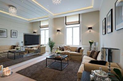 Belvárosi nappali fekete-bézs színekben - nappali ötlet