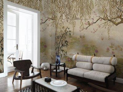 Chinoiserie tapétaposzter - nappali ötlet, egzotikus stílusban