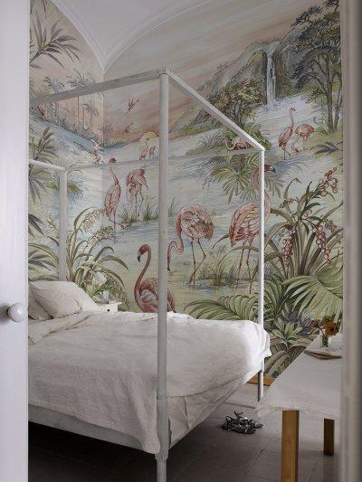 Chinoiserie tapétaposzter flamingókkal - háló ötlet, klasszikus stílusban