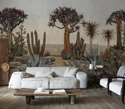 kaktusz tapétaposzter - nappali ötlet, klasszikus stílusban