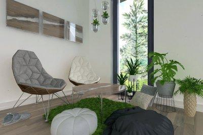 Társalgó, epoxy asztallal - nappali ötlet, modern stílusban
