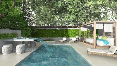 Medence relax sarokkal, csobogós étkezővel - kert / udvar ötlet, modern stílusban
