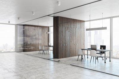 Üvegfal tárgyaló - dolgozószoba ötlet