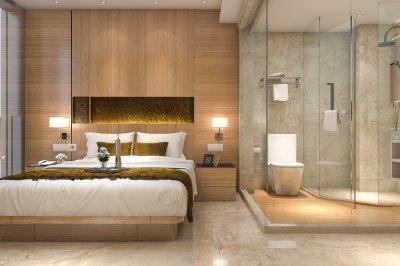 Fürdőszoba a hálószobában - háló ötlet, modern stílusban