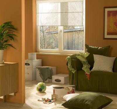 Kétszárnyú ablak a nappaliban - nappali ötlet, modern stílusban