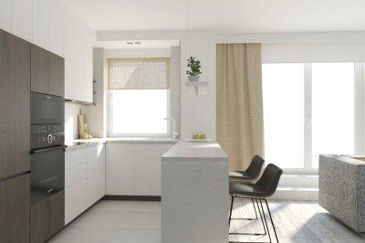 minimalista konyha egy lakóparki lakásban - konyha / étkező ötlet, minimál stílusban