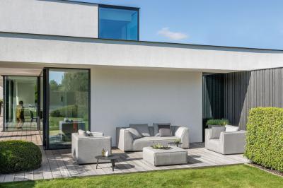 Davenport kerti kanapé fotellel - erkély / terasz ötlet, modern stílusban
