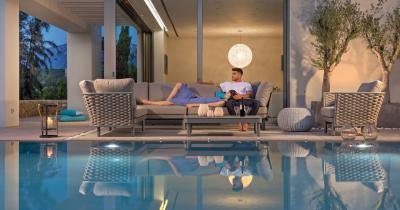 Kötél kerti bútorok a teraszon - erkély / terasz ötlet, modern stílusban