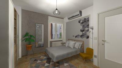 Budapesti lakás lakószoba látványterve - háló ötlet, modern stílusban