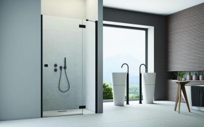 Épített zuhanyfülke üvegajtóval - fürdő / WC ötlet