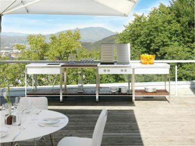 Modern nyári konyha - erkély / terasz ötlet, modern stílusban