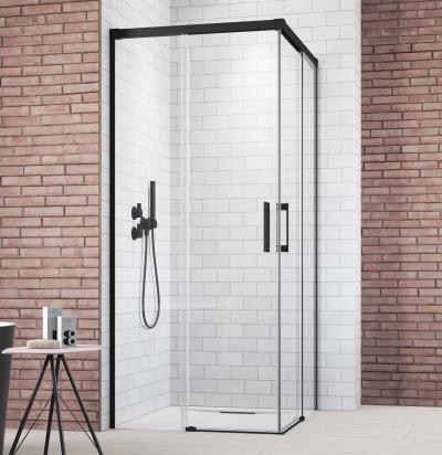 Szögletes fekete zuhanykabin - fürdő / WC ötlet