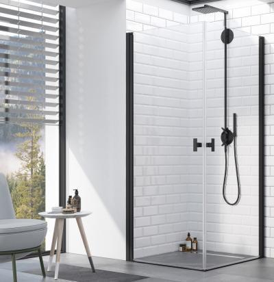 Fekete zuhanykabin - fürdő / WC ötlet