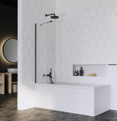Fekete kádparaván - fürdő / WC ötlet