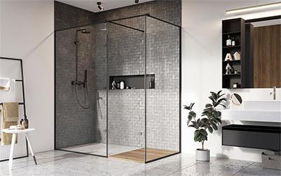 Fekete zuhanyfal - fürdő / WC ötlet