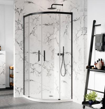Íves fekete zuhanykabin - fürdő / WC ötlet