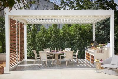 Alu étkezőbútorok a kertben - erkély / terasz ötlet, modern stílusban