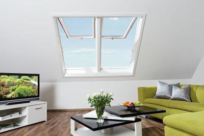 Felnyíló tetőablak - nappali ötlet, modern stílusban