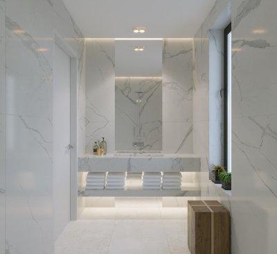 Modern fürdőszoba márvány mintás burkolattal, walk-in zuhanyzóval. - fürdő / WC ötlet