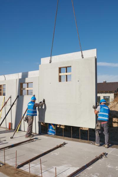 Építkezés előregyártott falakból - homlokzat ötlet, modern stílusban