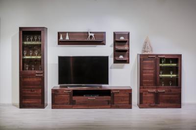 Elegáns tömörfa bútorok - nappali ötlet, modern stílusban